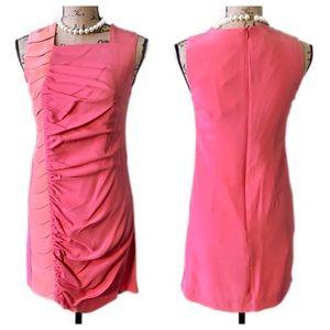 DAVID YO Pink Peach Ruched Silk Cocktail Dress NWT